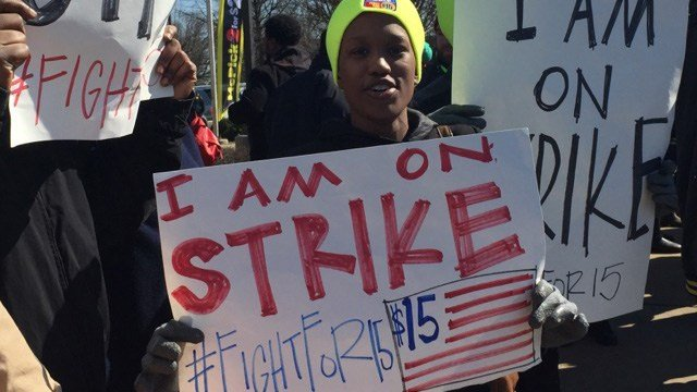 Protesters call for minimum wage to be raised to $15. (Feb. 13, 2016/FOX Carolina)