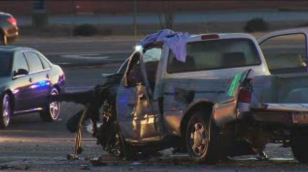 The coroner said the driver of this pickup died at the scene (FOX Carolina/ Feb. 18, 2016)