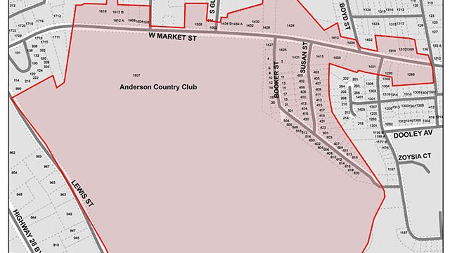 Areas affected by the advisory. (Source: City of Anderson0.