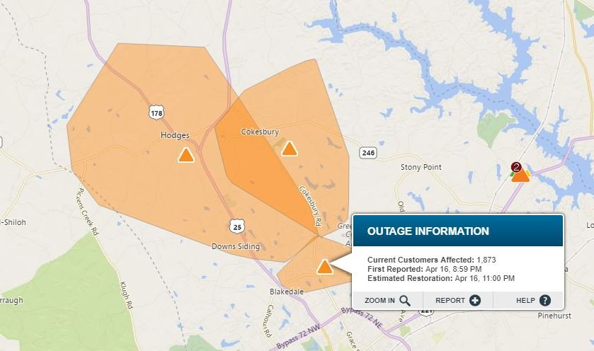 Power outages in Greenwood Co. (Source: Duke Energy Outage Map)