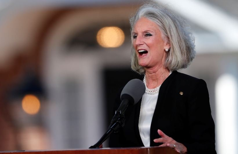 Anne Graham Lotz speaks at her father's funeral (AP Photo)